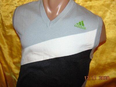 Стильная спорт фирменная оригинальная кофта свитр безрукавка Adidas Адидас .м .