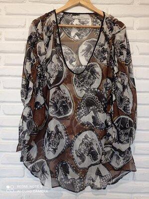 Шелковая блуза туника zara 12-14p