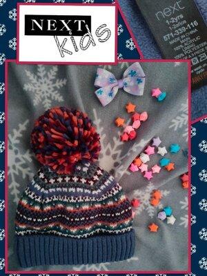 Классная зимняя шапка для мальчика синего цвета Next на 1-2 года