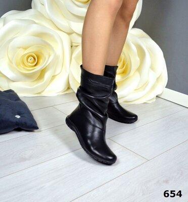 Продано: Женские натуральные замшевые кожаные зимние полу сапожки на низком ходу