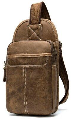 Мужская сумка через плечо, за спину кожаная винтажная светло-коричневая рыжая