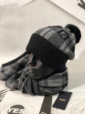 Набор зимний Fendi Ев- 7543 шерсть 70% рабит 30% шарф 2 метра расцветки.
