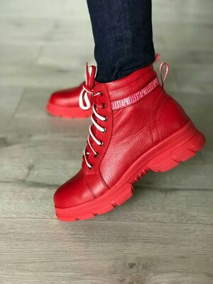 Зимние ботинки из натуральной кожи. Жіночі зимові чоботи.