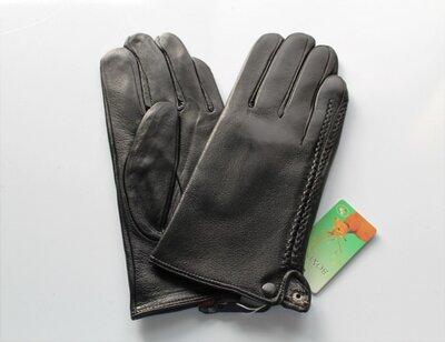 Мужские кожаные перчатки Косичка подкладка махра черные