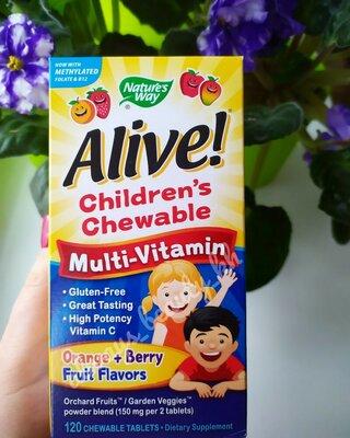 Детские жевательные мультивитамины alive chewables kids child nature's way
