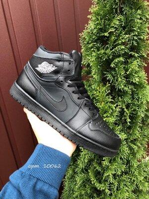 Nike Air Jordan 1 Retro зимние мужские кроссовки черные 10062