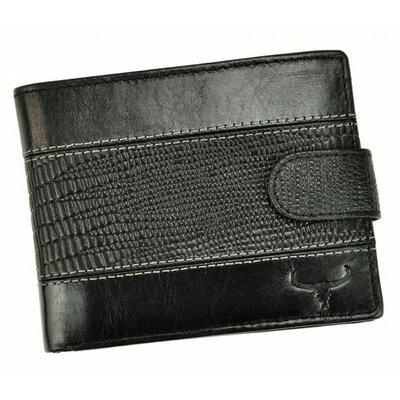 Мужское кожаное портмоне на кнопке черное Always Wild N992L-VTC black