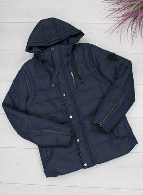 Чоловіча тепла зимова синя куртка мужская зимняя тёплая синяя куртка