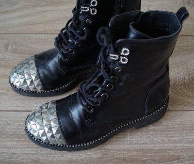 Стильные Модные Супер Крутые Ботинки Натуральная Кожа в отличном состоянии 24 см