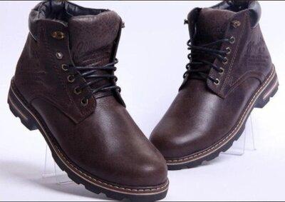 Кожаные мужские коричневые и черные зимние ботинки 40-45 р-ры кожаные тёплые ботинки Wrangler