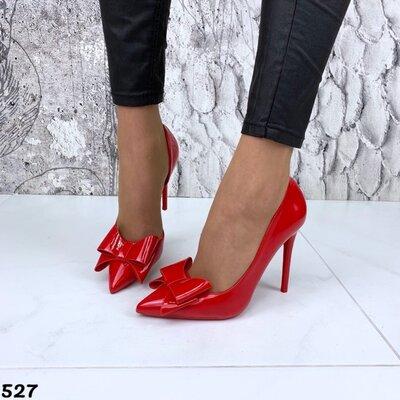 Женские чёрные красные лакированные туфли лодочки с бантиком на каблуке шпильке