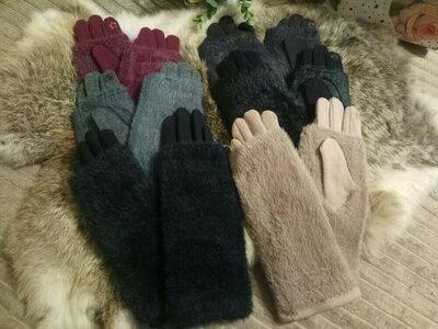 Перчатки -митенки 2 в 1 разные цвета