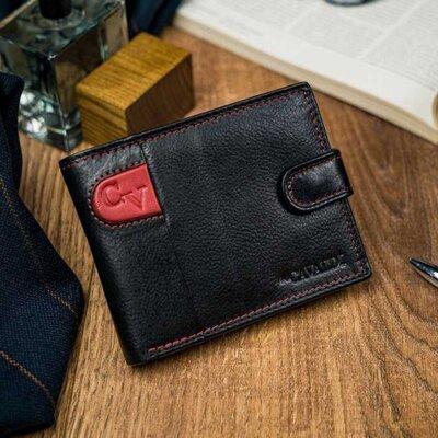 Мужское кожаное портмоне 4U Cavaldi N992L-SCV черный с красным