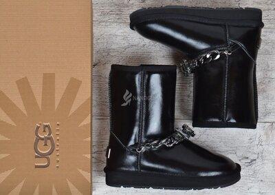 Угги женские кожаные UGG Australia jewerly черные с украшением