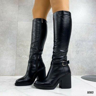 Продано: Зимние кожаные сапоги на широком каблуке