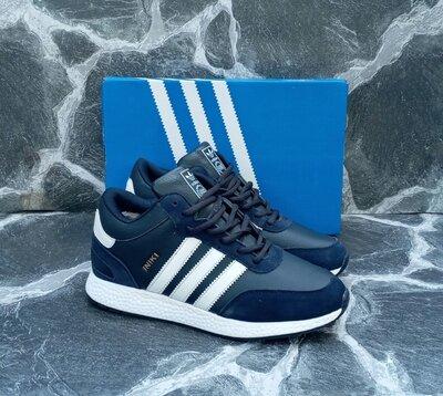 Продано: Мужские Зимние Кроссовки Adidas Iniki кожаные,синие,черные,с мехом