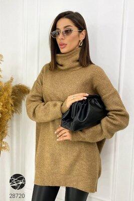 Женские свитера с горлом 9 расцветок Длинный свитер оверсайз Дилвин Жіночі довгі светри Dilvin