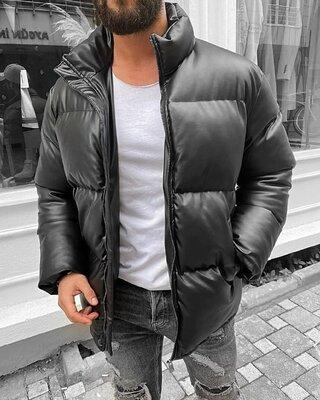куртка из качественной мягкой эко кожи на холлофайбере, черная, олива