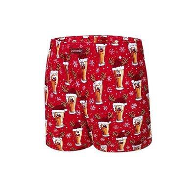 Мужские хлопковые боксеры красного цвета cornette 016/13 merry ch. beer 5