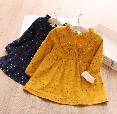 Теплое платье на плюше Горошек. желтое. синее