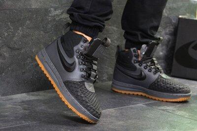 10083 Зимние мужские Nike Lunar Force 1 Duckboot серые/чёрные