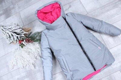 Продано: Детская зимняя теплая рефлективная светоотражающая куртка для девочки 7-11 лет 4314