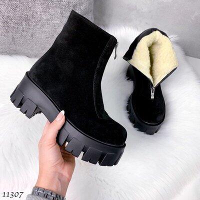 Кожаные зимние ботинки, ботинки зимние LIKE, ботинки на зиму, зимові черевики 38р-24,5 см Код 11307