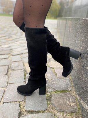 Демисезонные женские сапоги натуральная замша