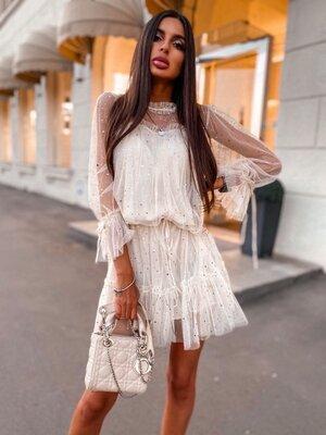 Продано: Мерцающие гипюровые платья с пояском V