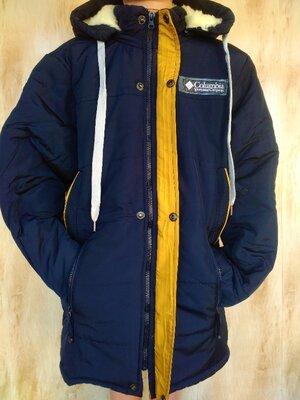 Удлиненная Зимняя теплая куртка пальто на мальчика 10,11,12,13,14 лет 140-165 рост