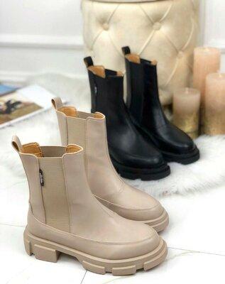 Продано: Хит, стильные высокие демисезонные ботинки челси беж и черные