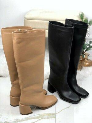 Продано: Стильные удобные кожаные демисезонные сапоги на широком каблуке и