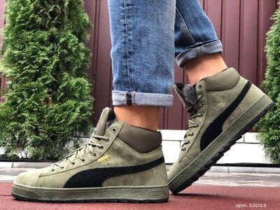 Зимние мужские кроссовки Puma Suede, темно зеленые, мех