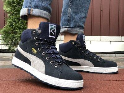 Зимние мужские кроссовки Puma Suede,темно синие, мех