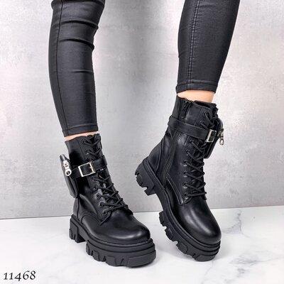 Продано: Женские чёрные ботинки с сумочкой на шнуровке на тракторной подошве