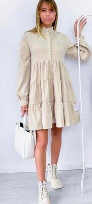 Вельветовое женское платье осень-зима 2020