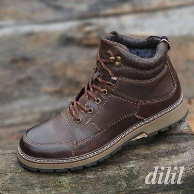 Ботинки мужские зимние кожаные коричневые - черевики чоловічі зимові шкіряні коричневі