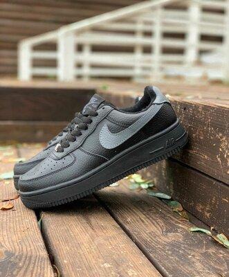 Зимние кроссовки Nike Air Force, черные, зима, мех