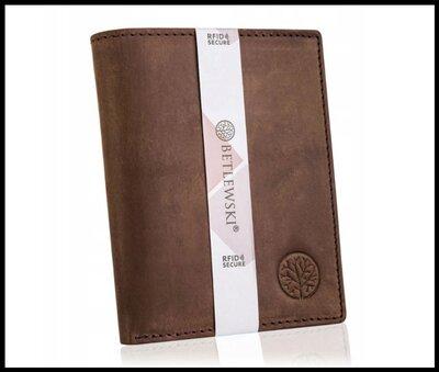 Кошелек мужской бренд Вetlewski Польша натуральная кожа защита RFID коричневый BPM-HT-575