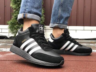 Зимние мужские кроссовки Adidas Iniki, черные с белым, кожа, мех