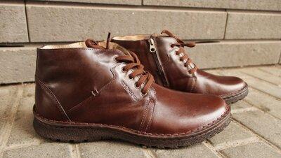 Мужские зимние ботинки больших размеров на цигейке коричневые