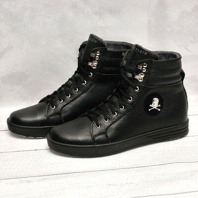 Кожаные зимние ботинки Philipp Plein черные