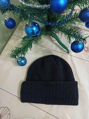 Продано: мужская шапка вязаная с отворотом демисезонная шапочка чоловіча чорна одинарна в'язана черная новая