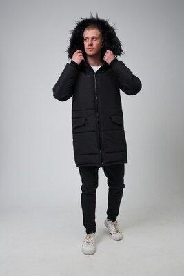 Зимняя мужская парка с капюшоном и мехом мужской пуховик зимняя удлиненная куртка