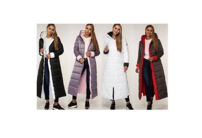 Шикарное пальто Зима длинное - двуцветное-- 44-58 - 11 цветов