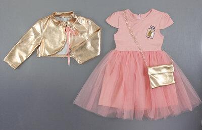 Нарядный комплект для девочки платье болеро и сумочка Размер 92