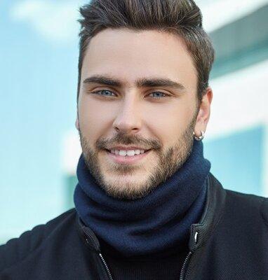 Мужской теплый шарф-хомут синий