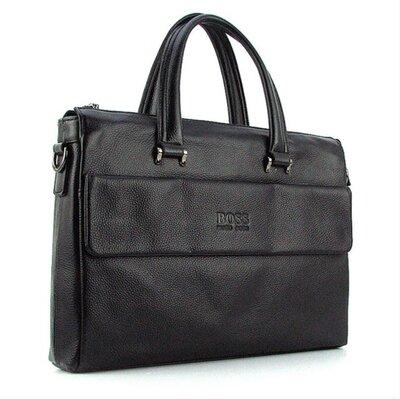 Портфель мужской кожаный для документов черный Hugo Boss 9068-5