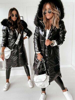 Трендовая Куртка зимняя лаковая монклер - мех искусственный, силикон 300