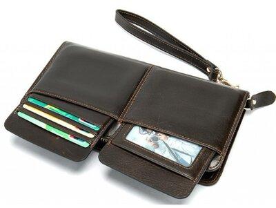 Клатч мужской коричневый кожаный наружные карманы для карточек съемный ремешок натуральная кожа